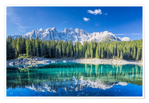 Póster Lago di Carezza in South Tyrol with Latemar mountains
