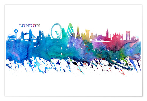 Póster Skyline LONDON Colorful Silhouette