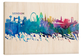 Cuadro de madera  Skyline LONDON Colorful Silhouette - M. Bleichner