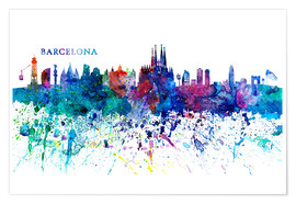 M. Bleichner - Skyline BARCELONA Colorful Silhouette