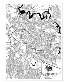 Póster Bucharest Romania Map