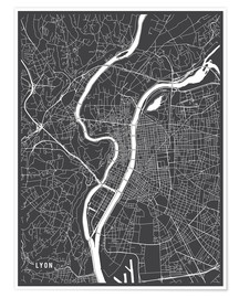 Póster Lyon France Map