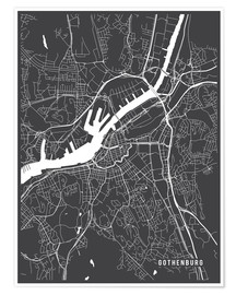 Póster Gothenburg Sweden Map