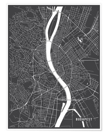 Póster  Budapest Hungary Map - Main Street Maps