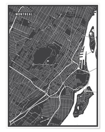 Póster  Montreal Canada Map - Main Street Maps