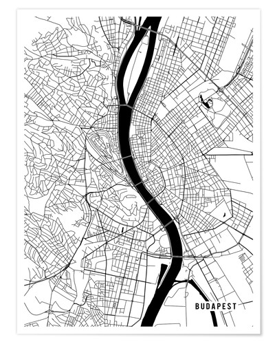 Póster Budapest Hungary Map