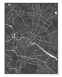 Póster Berlin Germany Map