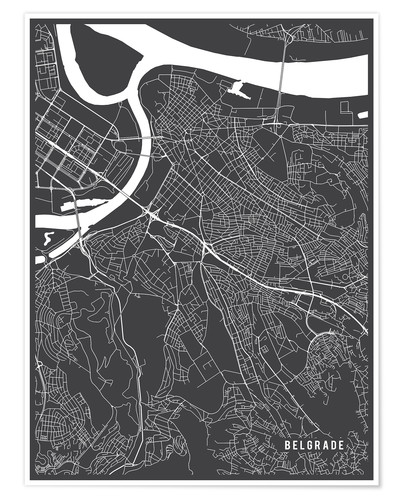 Póster Belgrade Serbia Map
