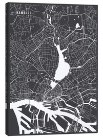 Lienzo  Hamburg Germany Map - Main Street Maps