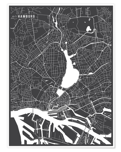 Póster Hamburg Germany Map