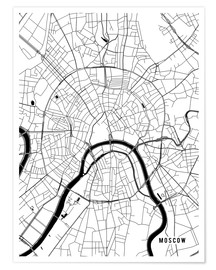 Póster  Moscow Russia Map - Main Street Maps