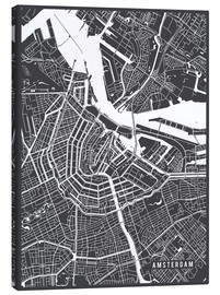 Lienzo  Amsterdam Netherlands Map - Main Street Maps