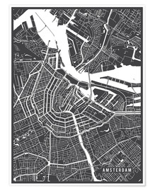 Póster  Amsterdam Netherlands Map - Main Street Maps