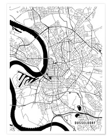 Póster Dusseldorf Germany Map