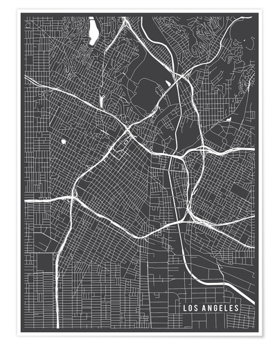 Póster Los Angeles USA Map