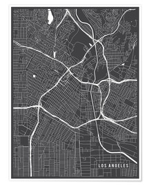 Póster  Los Angeles USA Map - Main Street Maps