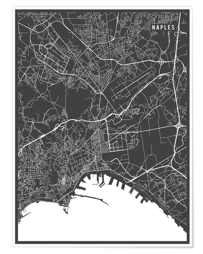 Póster Naples Italy Map
