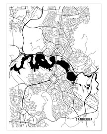 Póster Canberra Australia Map