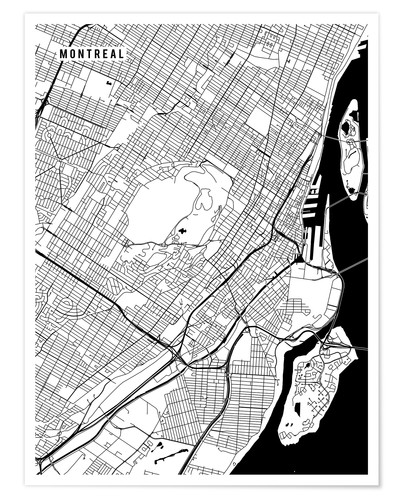 Póster Montreal Canada Map