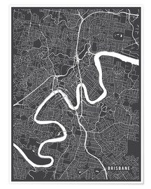 Póster  Brisbane Australia Map - Main Street Maps