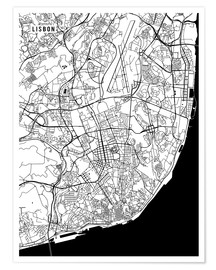 Póster  Lisbon Portugal Map - Main Street Maps