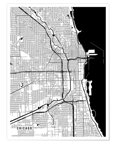 Póster Chicago USA Map