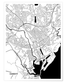 Póster Cardiff England Map