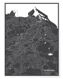 Póster Edinburg England Map