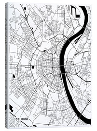 Lienzo  Cologne Germany Map - Main Street Maps