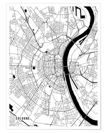 Póster  Cologne Germany Map - Main Street Maps