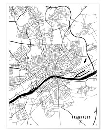 Póster Frankfurt Germany Map