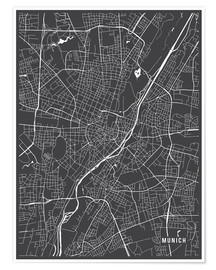 Póster  Munich Germany Map - Main Street Maps