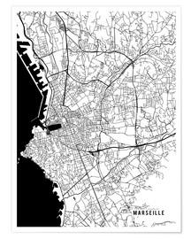 Póster Marseille France Map