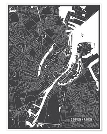 Póster  Copenhagen Netherlands Map - Main Street Maps