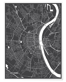 Póster Cologne Germany Map