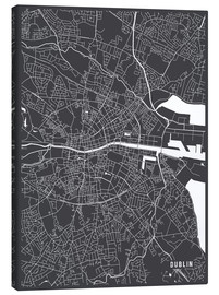 Lienzo  Dublin Ireland Map - Main Street Maps