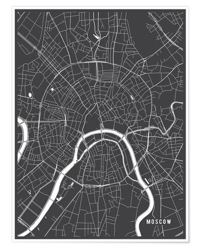 Póster Moscow Russia Map
