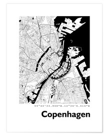 Póster  Mapa de la ciudad de Copenhague - 44spaces