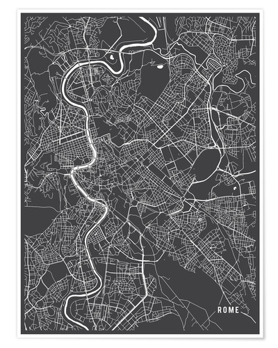 Póster Rome Italy Map