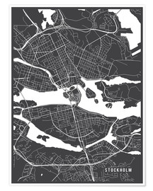 Póster  Stockholm Sweden Map - Main Street Maps