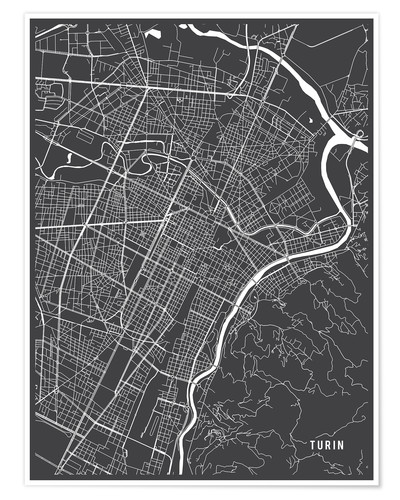Póster Turin Italy Map