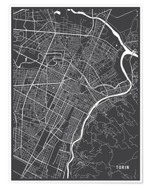 Póster  Turin Italy Map - Main Street Maps