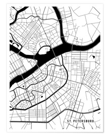 Póster St Petersburg Russia Map