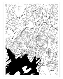 Póster Oslo Norway Map
