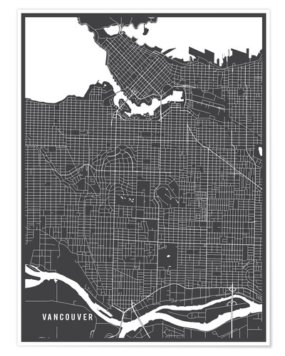 Póster Vancouver Canada Map