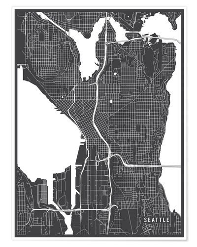 Póster Seattle USA Map