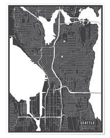 Póster  Seattle USA Map - Main Street Maps