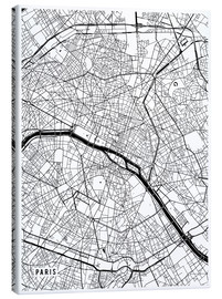 Lienzo  Paris France Map - Main Street Maps