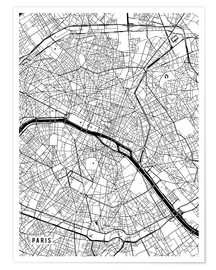 Póster Paris France Map