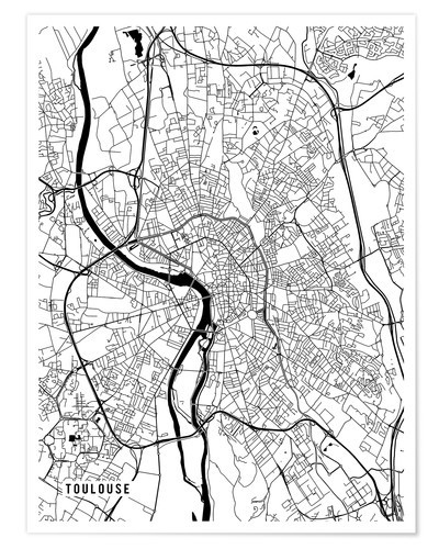 Póster Toulouse France Map